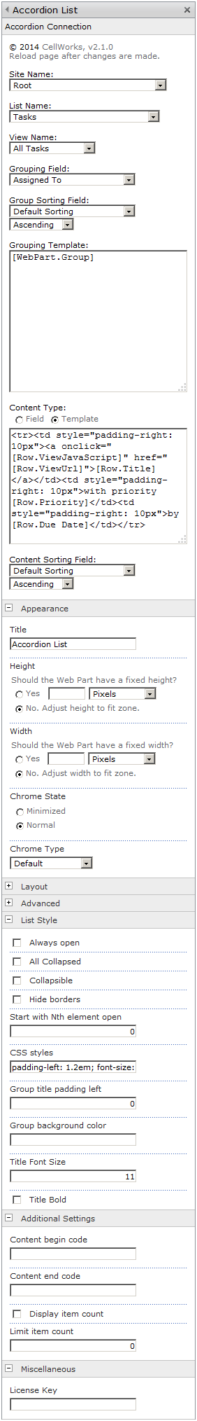 Sharepoint Accordion List Web Part