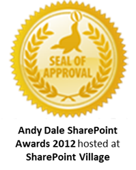 Winner in the Andy Dale SharePoint Awards 2012